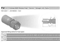FU-Female BSP Parallel Pipe-Swivel-Straight(30°Flare)